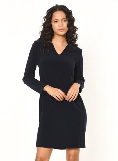 Random V Yaka Uzun Kollu Elbise Lacivert